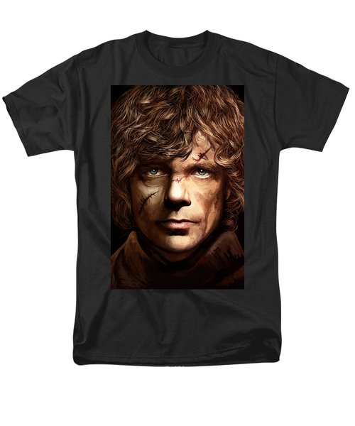 Men's T-Shirt  (Regular Fit) featuring the painting Tyrion Lannister - Peter Dinklage Game Of Thrones Artwork 2 by Sheraz A