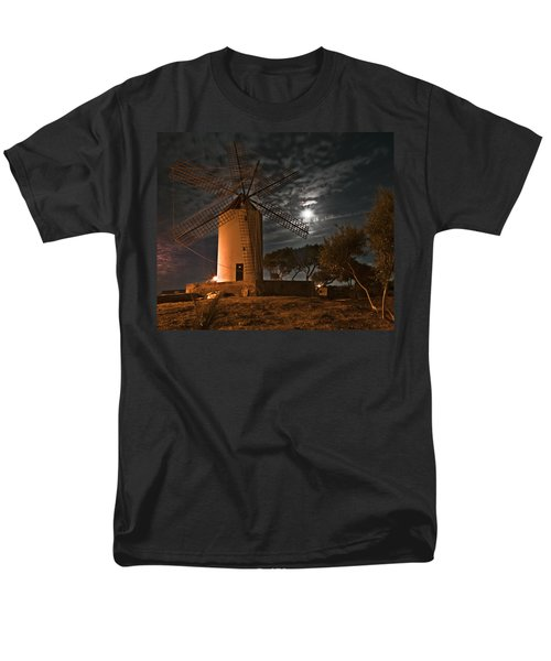 Vintage Windmill In Es Castell Villacarlos George Town In Minorca -  Under The Moonlight Men's T-Shirt  (Regular Fit) by Pedro Cardona
