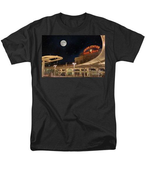 Union Station Denver Under A Full Moon Men's T-Shirt  (Regular Fit) by Juli Scalzi