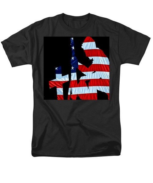 A Time To Remember United States Flag With Kneeling Soldier Silhouette Men's T-Shirt  (Regular Fit) by Bob Orsillo