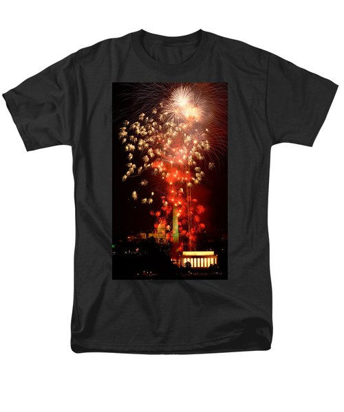 Usa, Washington Dc, Fireworks Men's T-Shirt  (Regular Fit) by Panoramic Images