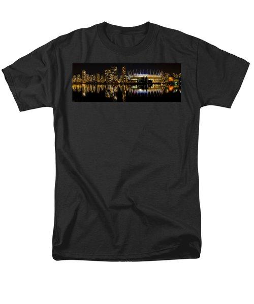 Men's T-Shirt  (Regular Fit) featuring the photograph Vancouver Bc Skyline Along False Creek At Night by JPLDesigns