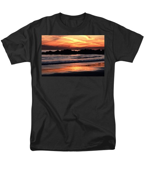 Men's T-Shirt  (Regular Fit) featuring the photograph Venice Beach Breaker Orange Yellow Sunset by Tom Wurl