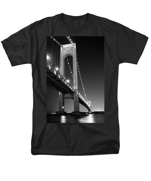 Verrazano Bridge At Night - Black And White Men's T-Shirt  (Regular Fit) by Gary Heller