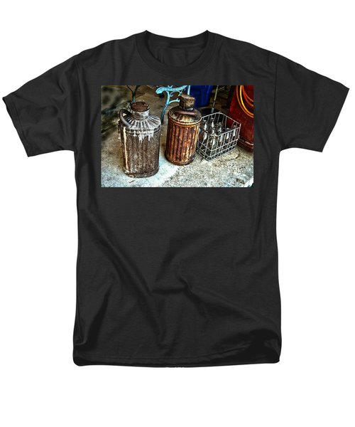 Men's T-Shirt  (Regular Fit) featuring the photograph Hdr Vintage Art  Cans And Bottles by Lesa Fine