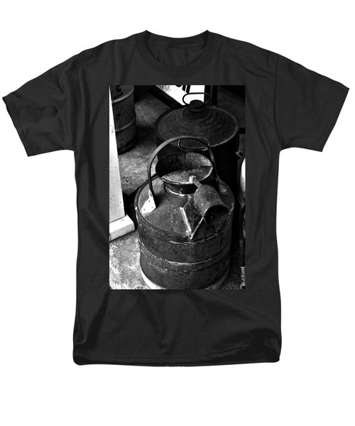 Men's T-Shirt  (Regular Fit) featuring the photograph Vintage B/w Galvanized Container by Lesa Fine