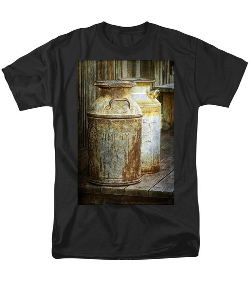 Vintage Creamery Cans In 1880 Town In South Dakota Men's T-Shirt  (Regular Fit) by Randall Nyhof