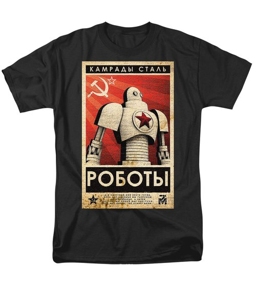 Vintage Russian Robot Poster Men's T-Shirt  (Regular Fit)