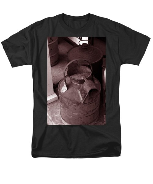 Men's T-Shirt  (Regular Fit) featuring the photograph Vintage Sepia Galvanized Container by Lesa Fine