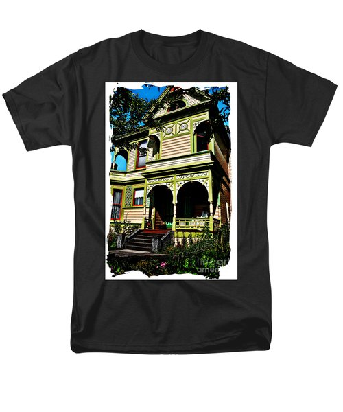 Men's T-Shirt  (Regular Fit) featuring the digital art Vintage Victorian Home Watercolor Style Art Prints by Valerie Garner
