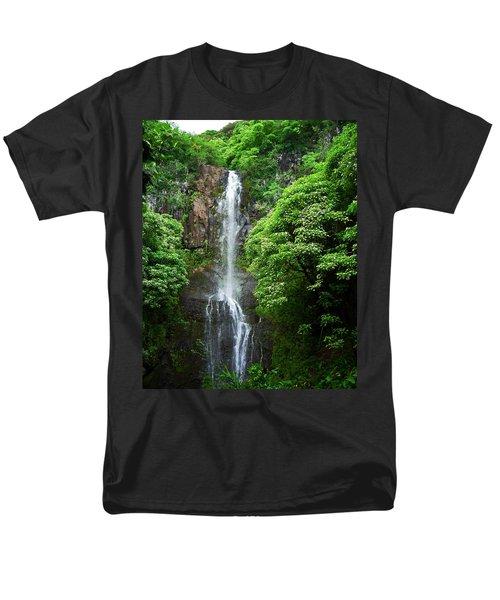 Men's T-Shirt  (Regular Fit) featuring the photograph Waikani Falls At Wailua Maui Hawaii by Connie Fox