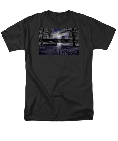 Men's T-Shirt  (Regular Fit) featuring the photograph #walk-way In A Pinhole Presentation Over Dyarna A #winter #day Near City Enkoping Sweden January 201 by Leif Sohlman