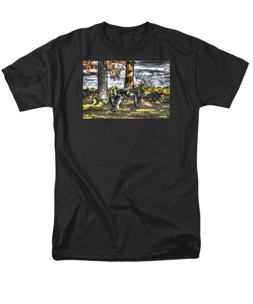 Men's T-Shirt  (Regular Fit) featuring the photograph War Thunder - Lane's Battalion Ross's Battery-b1 West Confederate Ave Gettysburg by Michael Mazaika