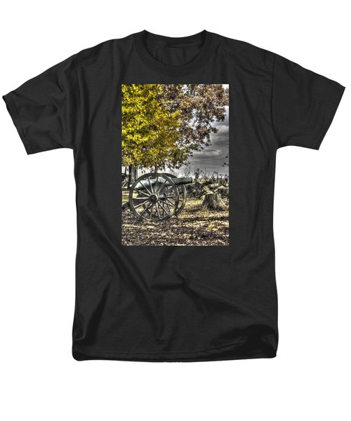 Men's T-Shirt  (Regular Fit) featuring the photograph War Thunder - The Purcell Artillery Mc Graw's Battery-a2 West Confederate Ave Gettysburg by Michael Mazaika