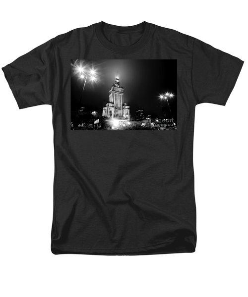 Warsaw Poland Downtown Skyline At Night Men's T-Shirt  (Regular Fit) by Michal Bednarek