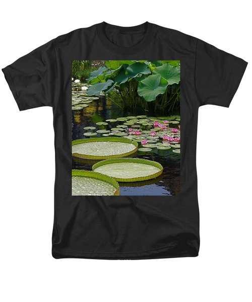 Men's T-Shirt  (Regular Fit) featuring the photograph Water Lilies And Platters And Lotus Leaves by Byron Varvarigos