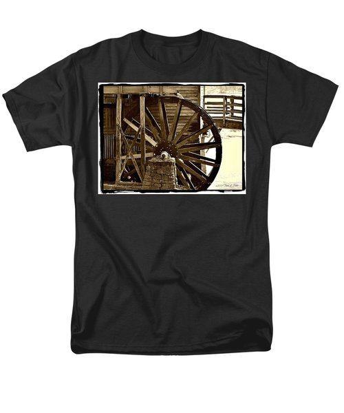 Men's T-Shirt  (Regular Fit) featuring the photograph Water Wheel At The Grist Mill by Tara Potts