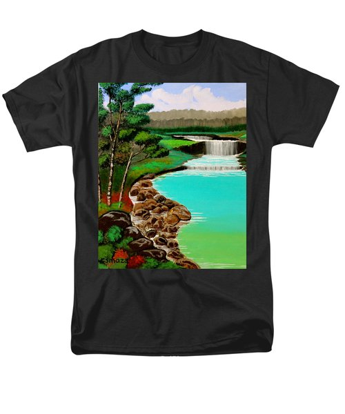 Men's T-Shirt  (Regular Fit) featuring the painting Waterfalls by Cyril Maza