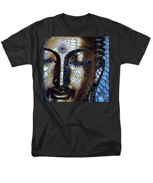 Web Of Dharma - Modern Blue Buddha Art Men's T-Shirt  (Regular Fit) by Christopher Beikmann