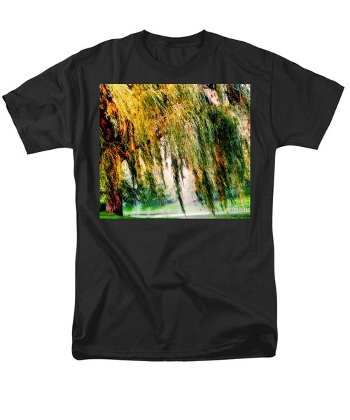 Weeping Willow Tree Painterly Monet Impressionist Dreams Men's T-Shirt  (Regular Fit) by Carol F Austin