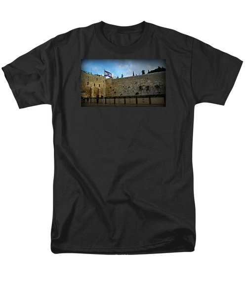 Western Wall And Israeli Flag Men's T-Shirt  (Regular Fit) by Stephen Stookey
