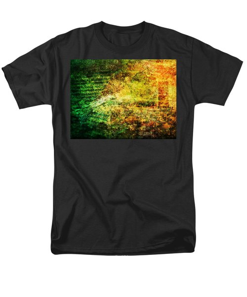Men's T-Shirt  (Regular Fit) featuring the mixed media When Past And Present Intersect #1 by Sandy MacGowan
