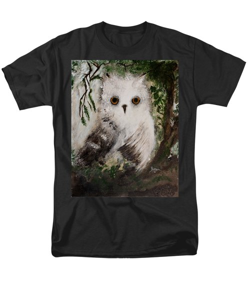 Men's T-Shirt  (Regular Fit) featuring the painting Whisper The Snowy Owl by Barbie Batson