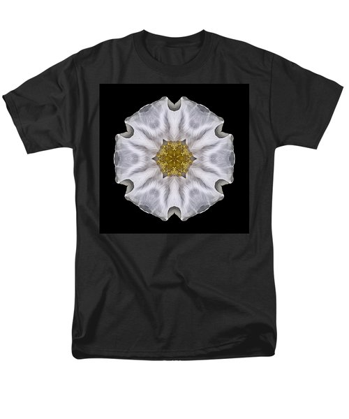 White Beach Rose I Flower Mandala Men's T-Shirt  (Regular Fit)
