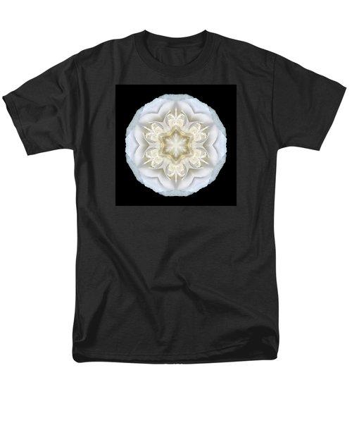 White Begonia II Flower Mandala Men's T-Shirt  (Regular Fit) by David J Bookbinder