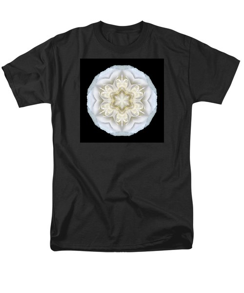 White Begonia II Flower Mandala Men's T-Shirt  (Regular Fit)