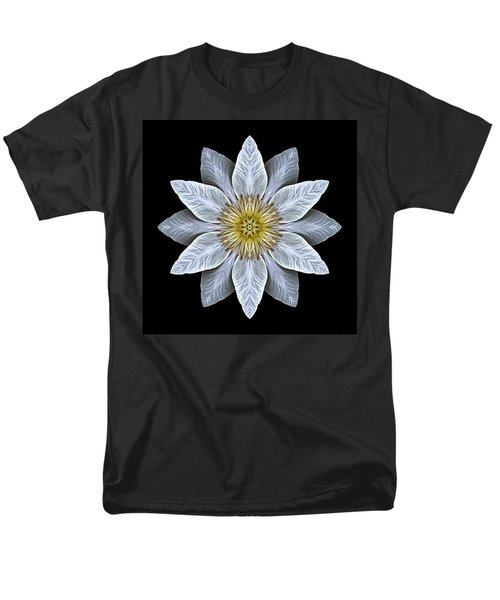 White Clematis Flower Mandala Men's T-Shirt  (Regular Fit)