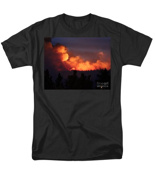 Men's T-Shirt  (Regular Fit) featuring the photograph White Draw Fire First Night by Bill Gabbert