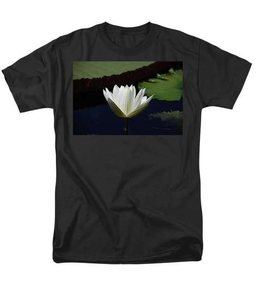 Men's T-Shirt  (Regular Fit) featuring the photograph White Flower Growing Out Of Lily Pond by Jennifer Ancker