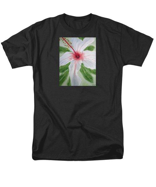 White Hibiscus Flower Men's T-Shirt  (Regular Fit) by Elvira Ingram