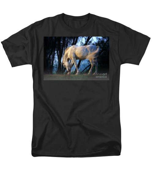 Men's T-Shirt  (Regular Fit) featuring the photograph White Horse In The Early Evening Mist by Nick  Biemans