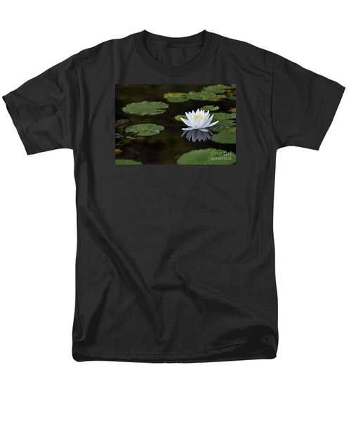 Men's T-Shirt  (Regular Fit) featuring the photograph White Lotus Lily Flower And Lily Pad by Glenn Gordon