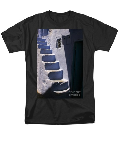 Men's T-Shirt  (Regular Fit) featuring the photograph Whitewashed Steps In The Medina Of Asilah On Northwest Tip Of Atlantic Coast Of Morocco by Ralph A  Ledergerber-Photography