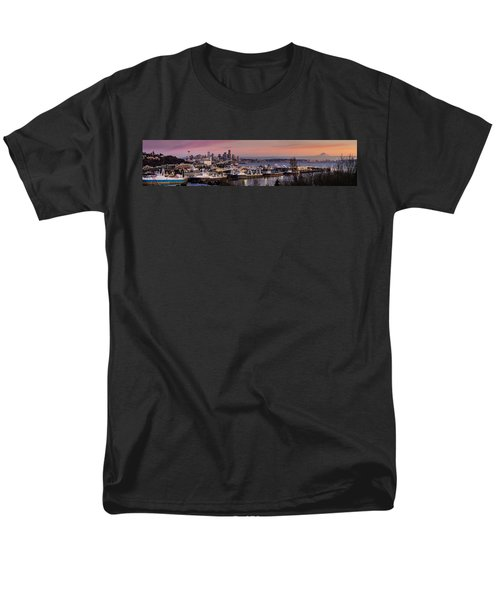 Wider Seattle Skyline And Rainier At Sunset From Magnolia Men's T-Shirt  (Regular Fit) by Mike Reid