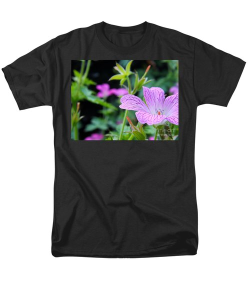Men's T-Shirt  (Regular Fit) featuring the photograph Wild Geranium Flowers by Clare Bevan