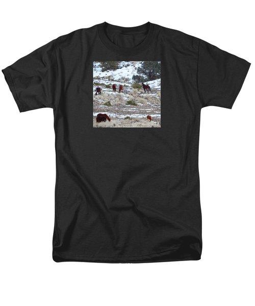 Wild Mustangs In A Nevada Winter Men's T-Shirt  (Regular Fit) by Bobbee Rickard