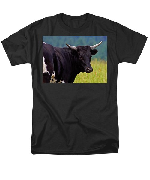 Men's T-Shirt  (Regular Fit) featuring the painting Wild Type Colored Heifer Longhorn Cow by Karon Melillo DeVega