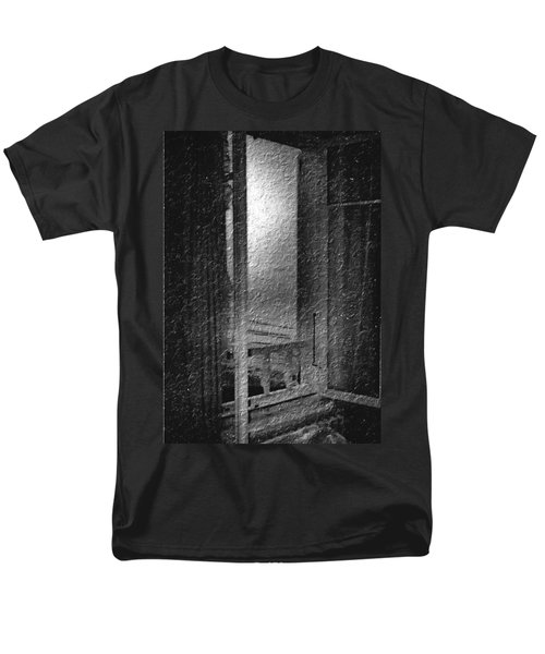 Window Ocean View Black And White Digital Painting Men's T-Shirt  (Regular Fit) by Cathy Anderson
