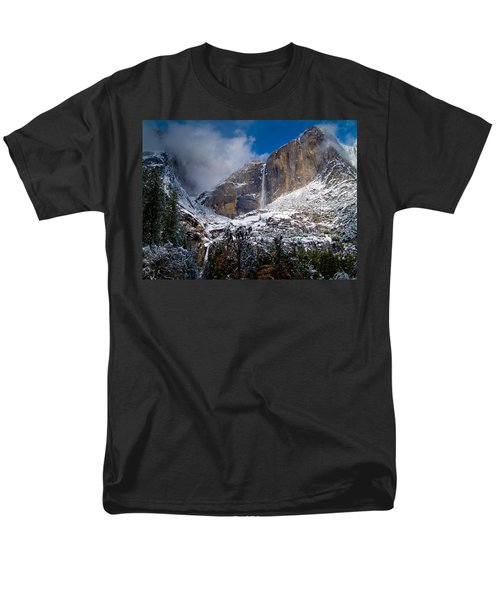 Winter At Yosemite Falls Men's T-Shirt  (Regular Fit) by Bill Gallagher