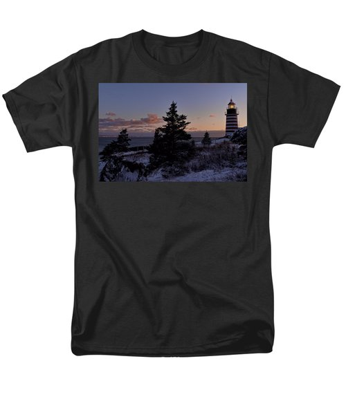 Winter Sentinel Lighthouse Men's T-Shirt  (Regular Fit) by Marty Saccone
