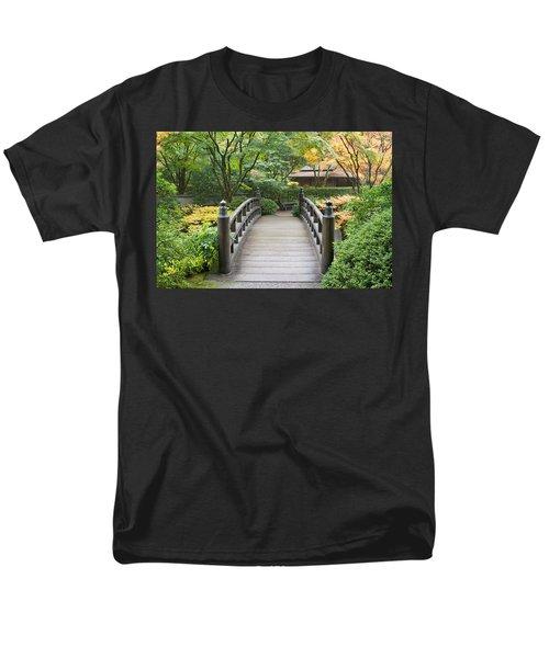 Men's T-Shirt  (Regular Fit) featuring the photograph Wooden Foot Bridge In Japanese Garden by JPLDesigns