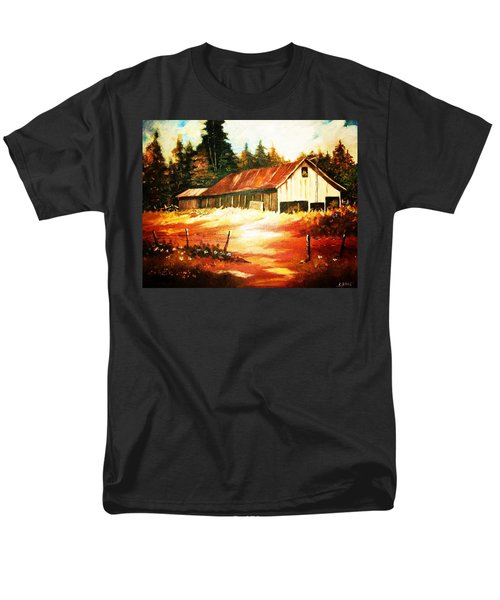 Men's T-Shirt  (Regular Fit) featuring the painting Woodland Barn In Autumn by Al Brown