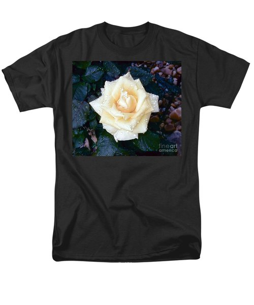 Men's T-Shirt  (Regular Fit) featuring the photograph Yellow Rose At Dawn by Alys Caviness-Gober