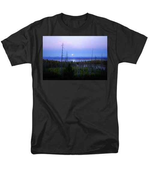 Men's T-Shirt  (Regular Fit) featuring the photograph Yellowstone Moon by Ann Lauwers