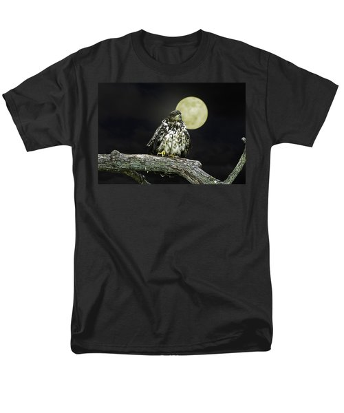 Men's T-Shirt  (Regular Fit) featuring the photograph Young Bald Eagle By Moon Light by John Haldane