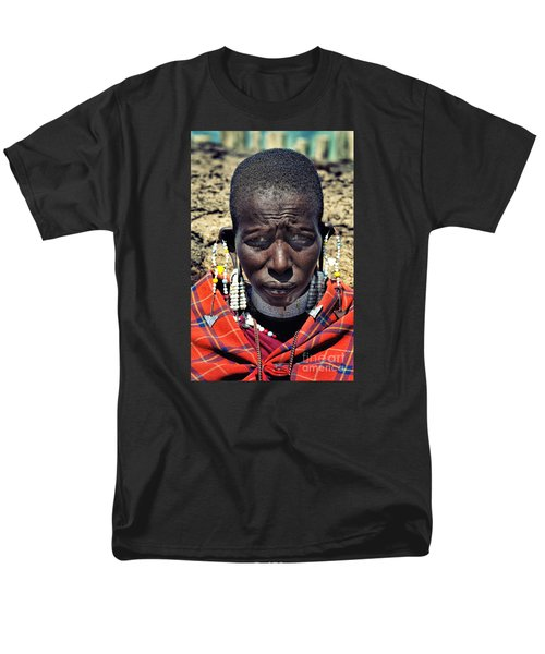 Portrait Of Young Maasai Woman At Ngorongoro Conservation Tanzania Men's T-Shirt  (Regular Fit) by Amyn Nasser